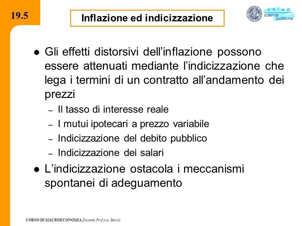 Inflazione ed indicizzazione