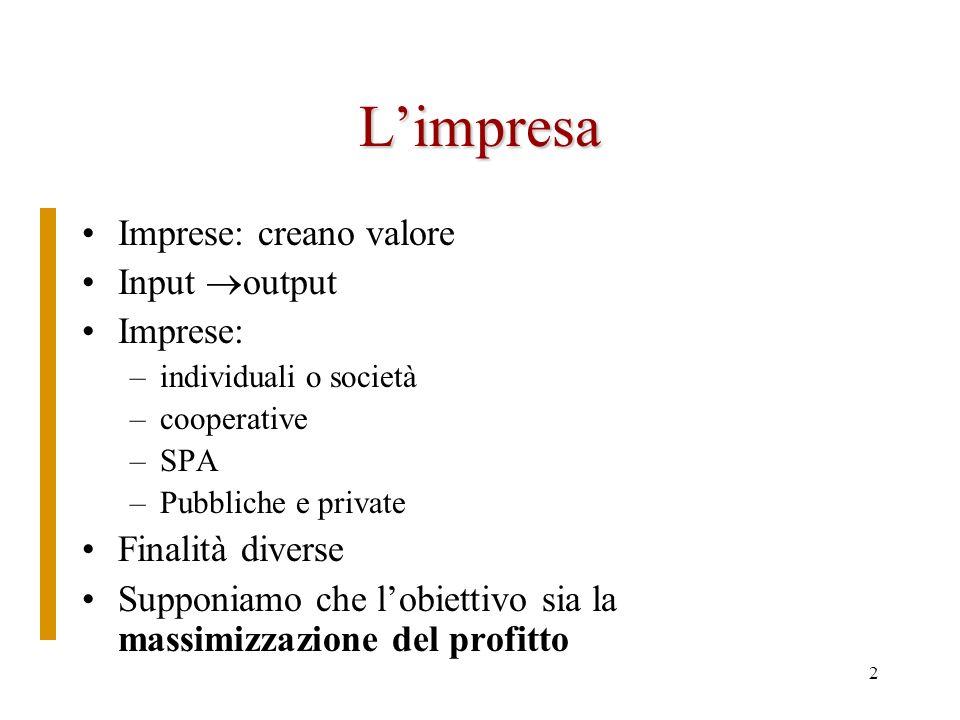L'impresa Imprese: creano valore Input output Imprese: