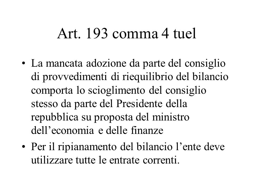 Art. 193 comma 4 tuel