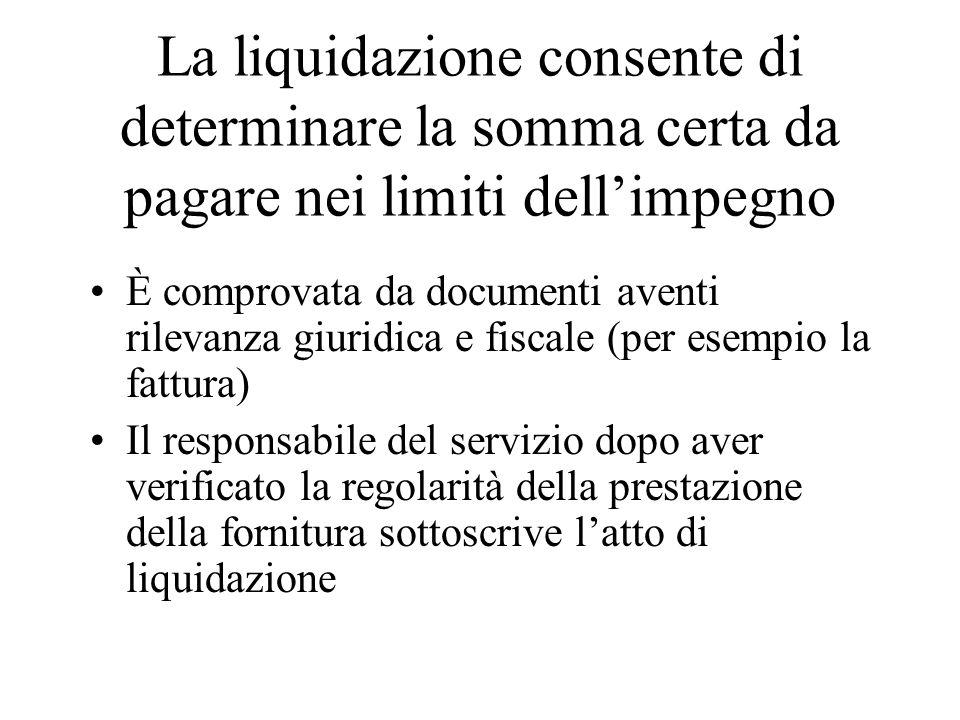 La liquidazione consente di determinare la somma certa da pagare nei limiti dell'impegno