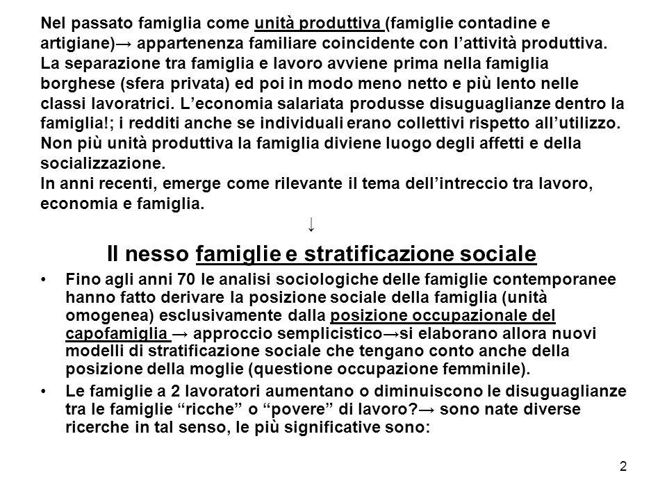 Il nesso famiglie e stratificazione sociale