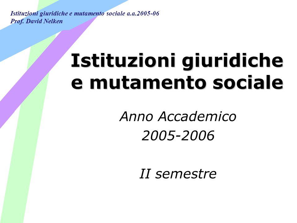 Istituzioni giuridiche e mutamento sociale