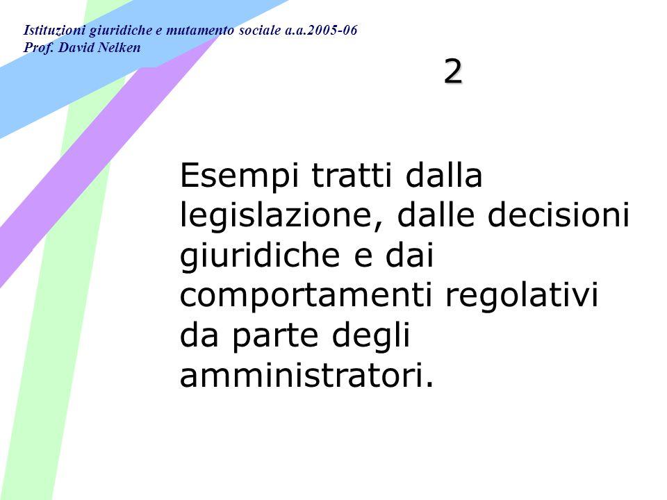 2 Esempi tratti dalla legislazione, dalle decisioni giuridiche e dai comportamenti regolativi da parte degli amministratori.