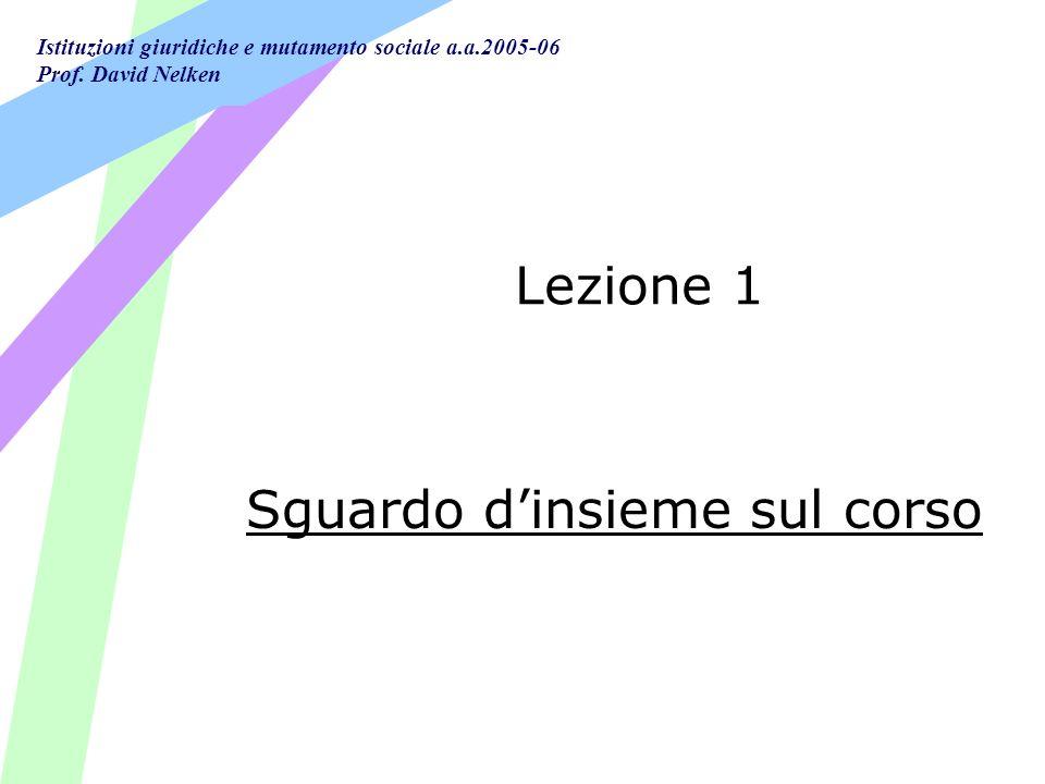 Lezione 1 Sguardo d'insieme sul corso