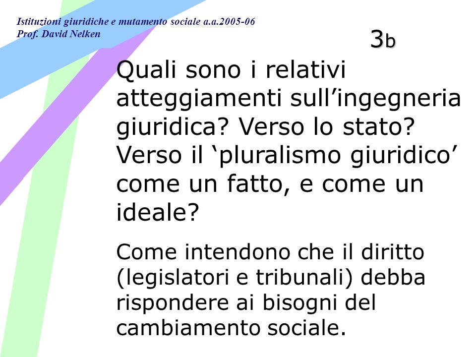 3b Quali sono i relativi atteggiamenti sull'ingegneria giuridica Verso lo stato Verso il 'pluralismo giuridico' come un fatto, e come un ideale