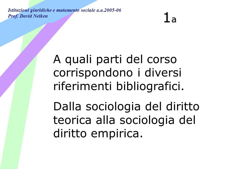 1a A quali parti del corso corrispondono i diversi riferimenti bibliografici.