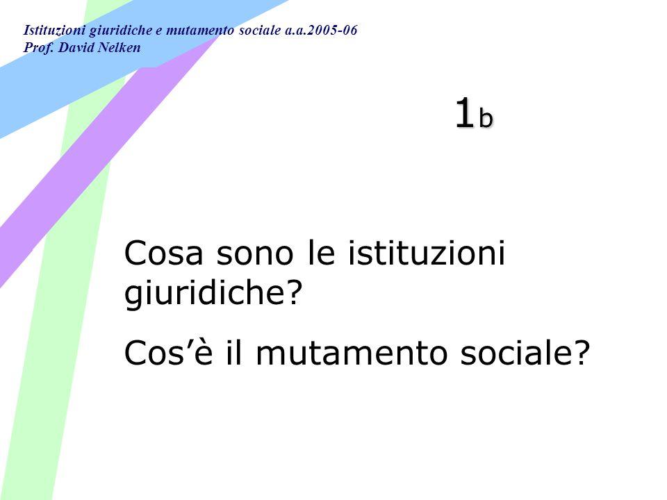 1b Cosa sono le istituzioni giuridiche Cos'è il mutamento sociale