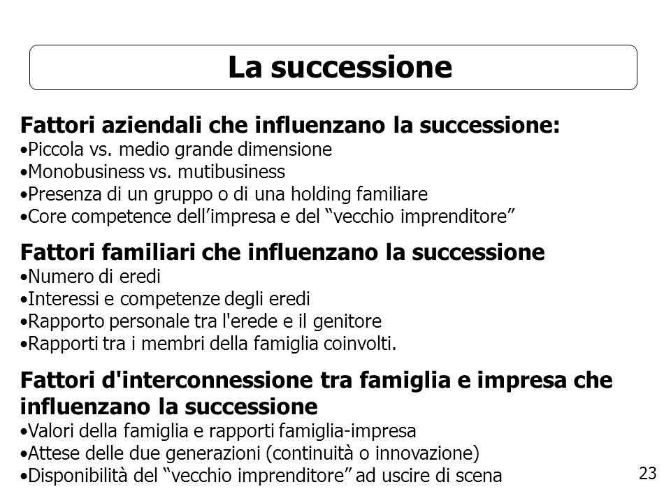 La successione Fattori aziendali che influenzano la successione: