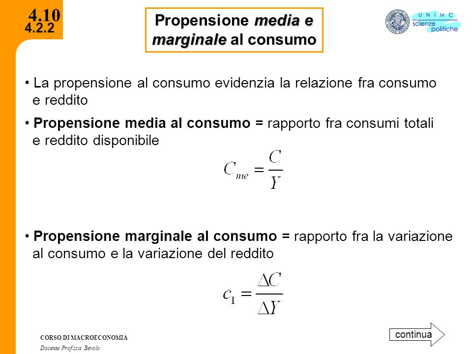 4.10 Propensione media e marginale al consumo