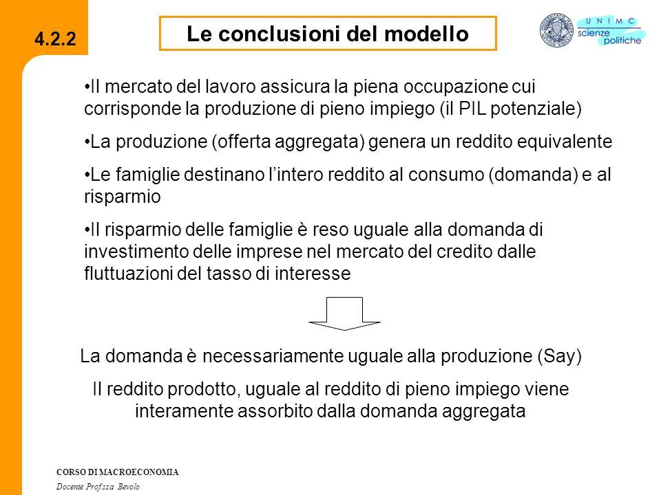 Le conclusioni del modello