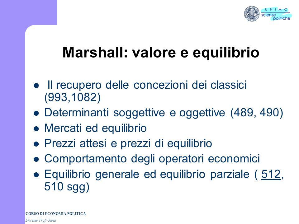 Marshall: valore e equilibrio