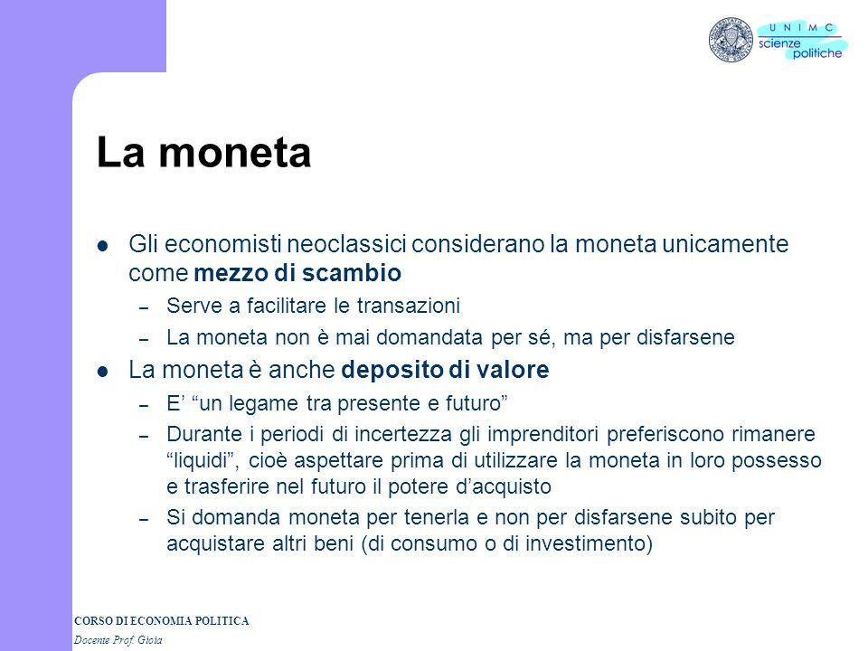 La moneta Gli economisti neoclassici considerano la moneta unicamente come mezzo di scambio. Serve a facilitare le transazioni.