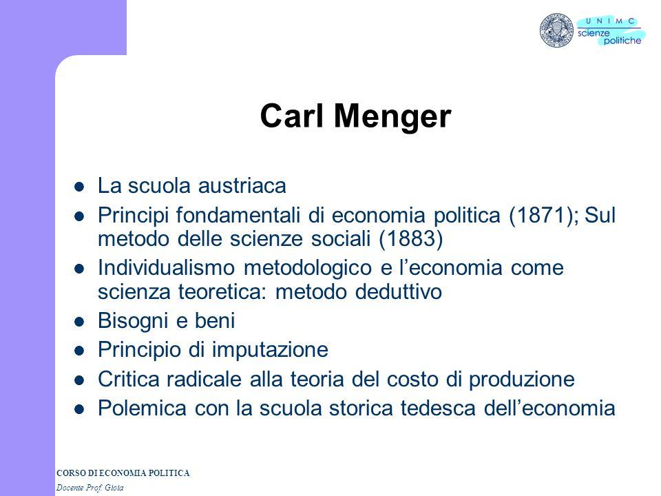 Carl Menger La scuola austriaca