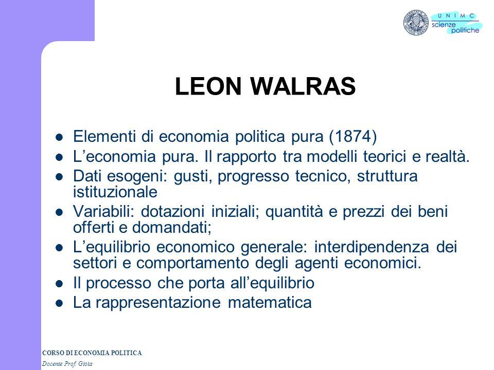 LEON WALRAS Elementi di economia politica pura (1874)