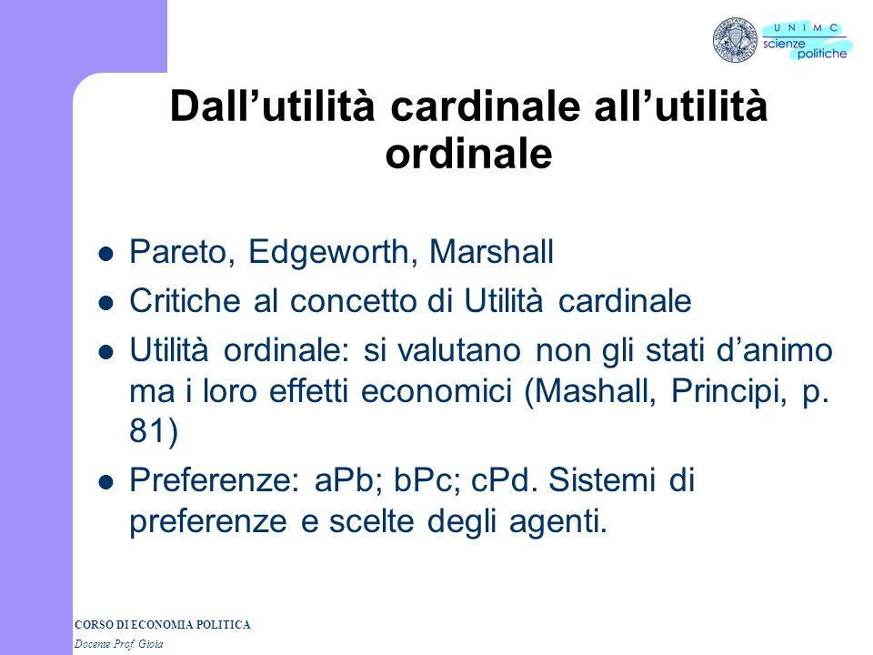 Dall'utilità cardinale all'utilità ordinale
