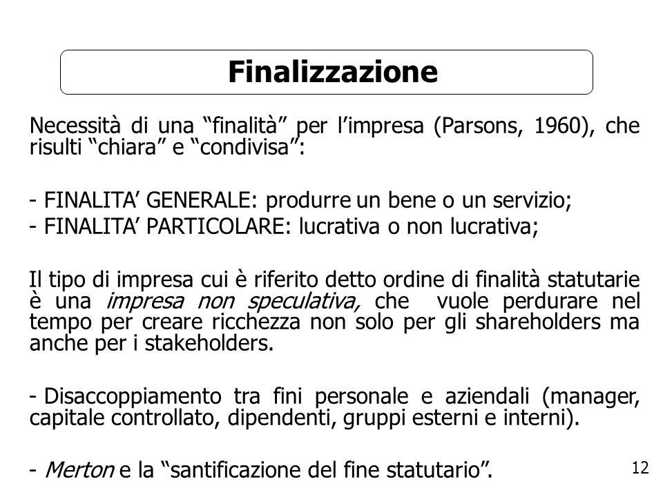 Finalizzazione - FINALITA' GENERALE: produrre un bene o un servizio;