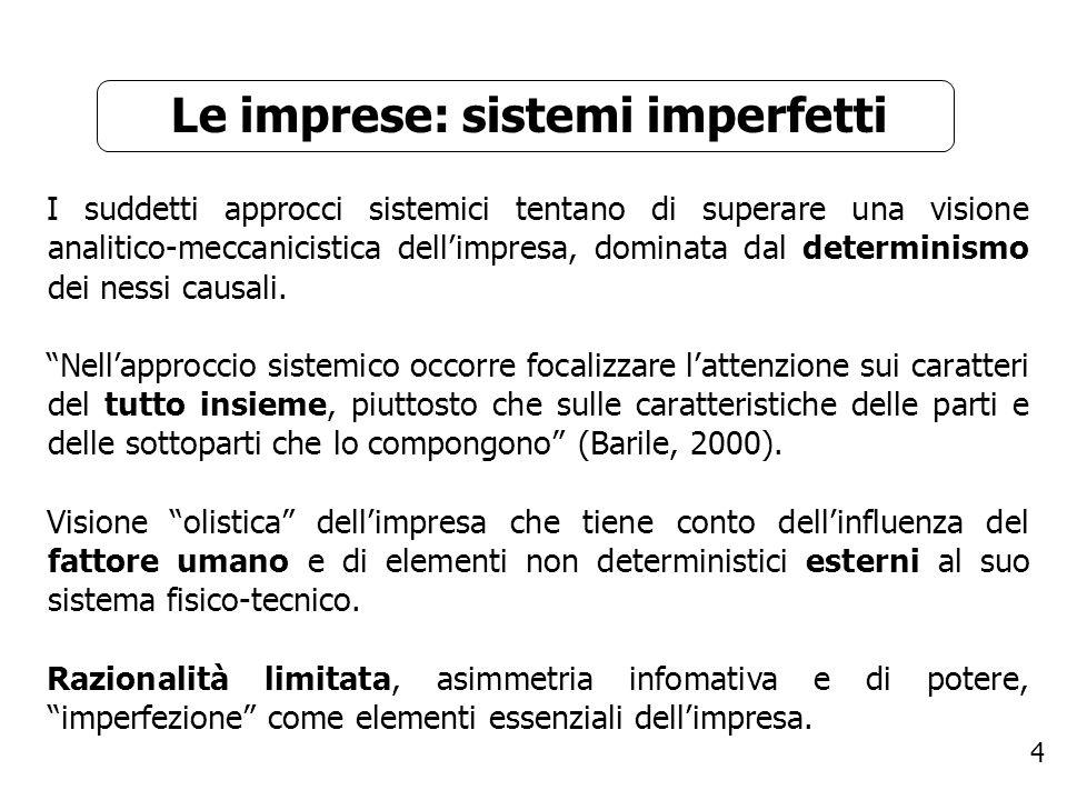 Le imprese: sistemi imperfetti