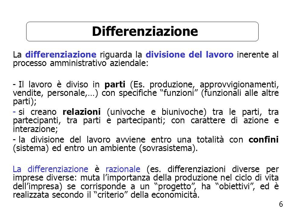DifferenziazioneLa differenziazione riguarda la divisione del lavoro inerente al processo amministrativo aziendale: