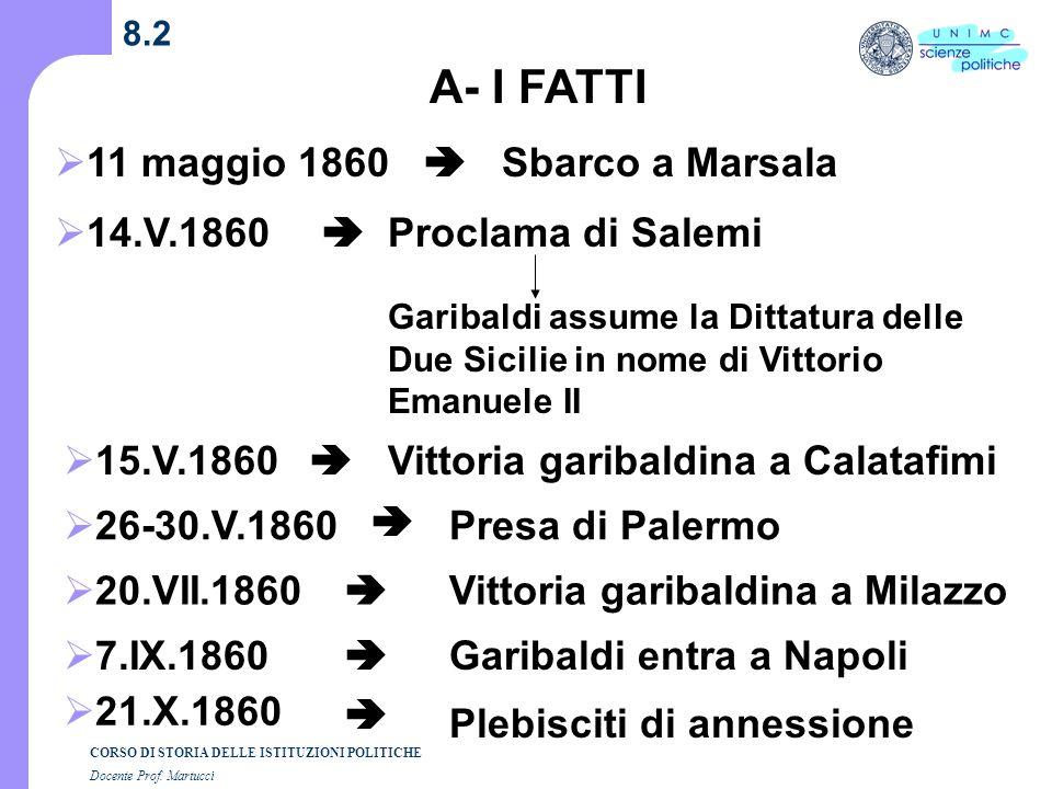 A- I FATTI 11 maggio 1860  Sbarco a Marsala 14.V.1860 