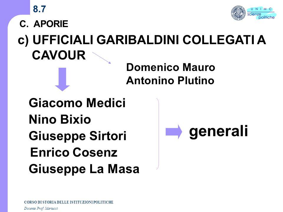 generali c) UFFICIALI GARIBALDINI COLLEGATI A CAVOUR Giacomo Medici