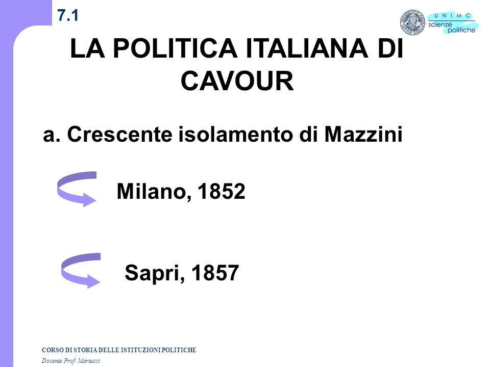 LA POLITICA ITALIANA DI CAVOUR