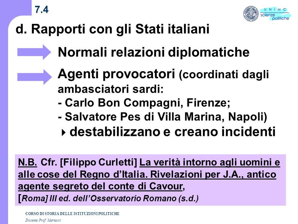 d. Rapporti con gli Stati italiani