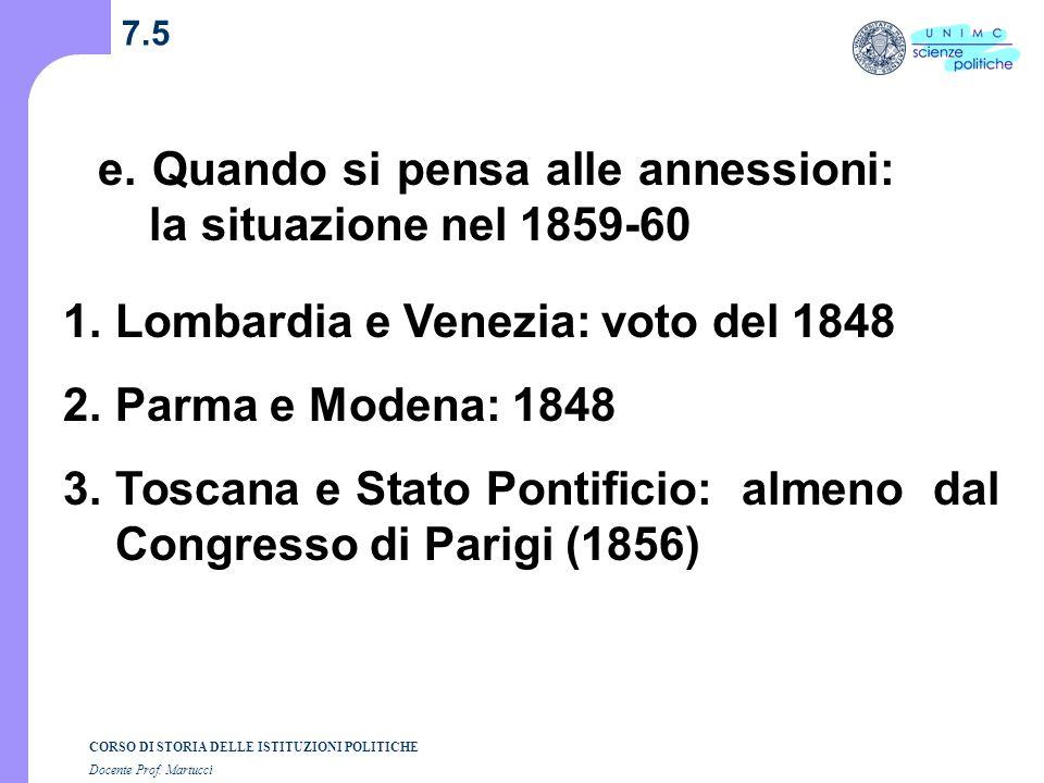 e. Quando si pensa alle annessioni: la situazione nel 1859-60