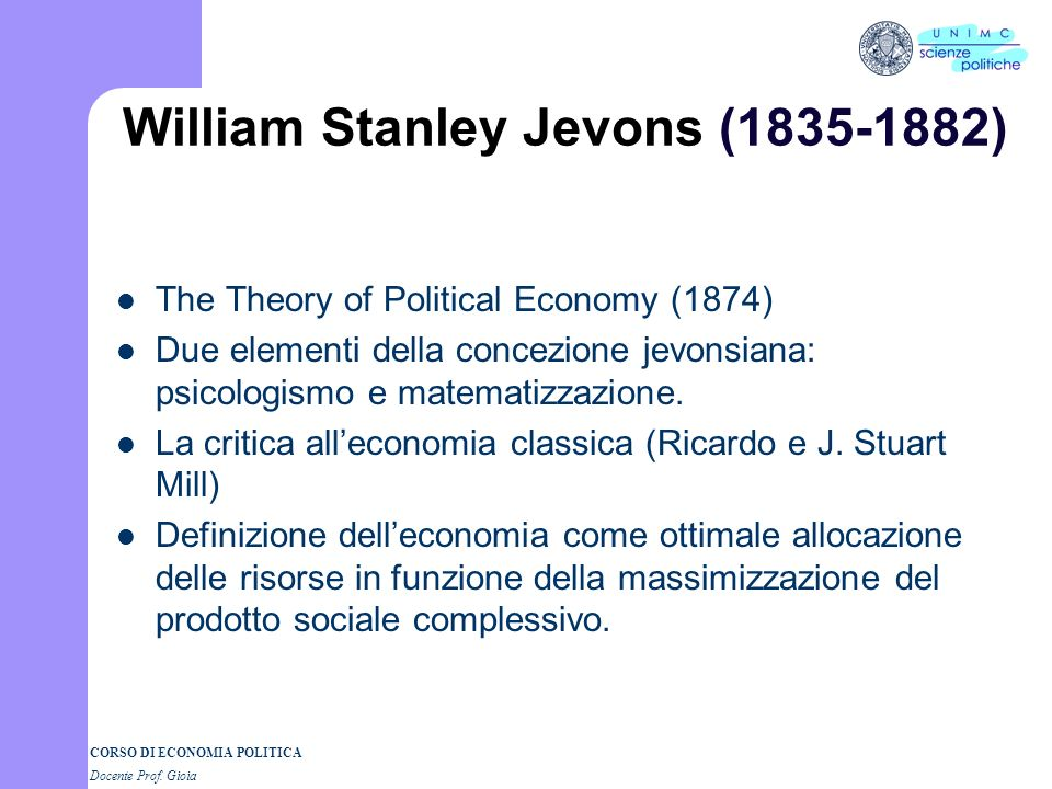 William Stanley Jevons ( )