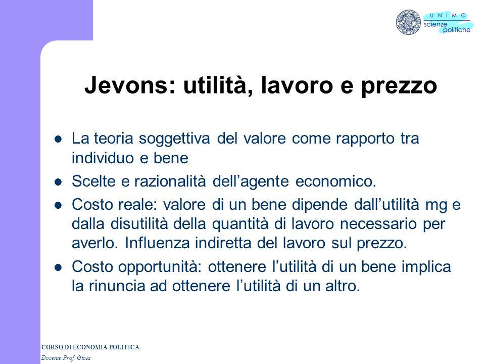 Jevons: utilità, lavoro e prezzo