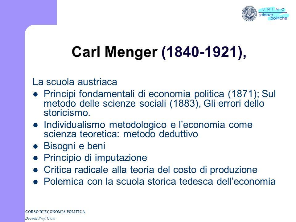 Carl Menger (1840-1921), La scuola austriaca