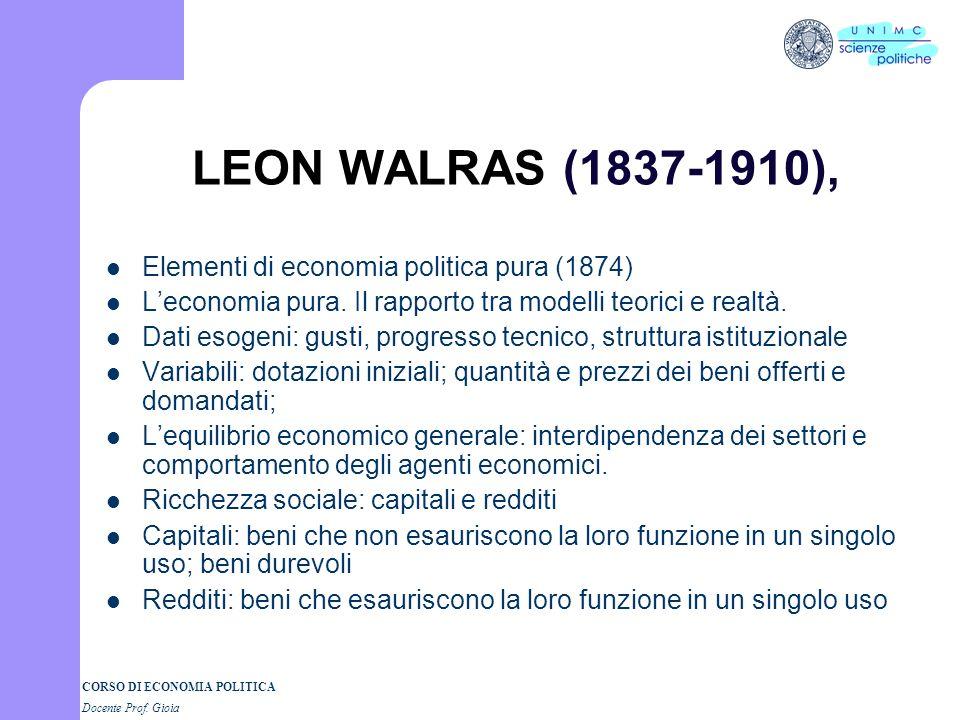 LEON WALRAS (1837-1910), Elementi di economia politica pura (1874)