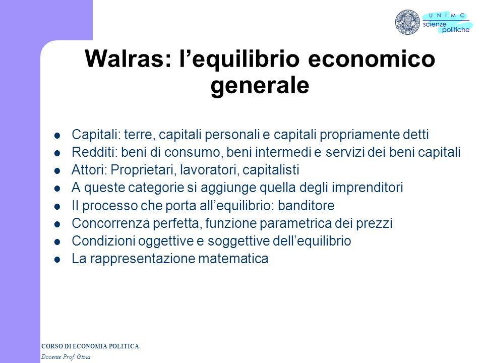 Walras: l'equilibrio economico generale