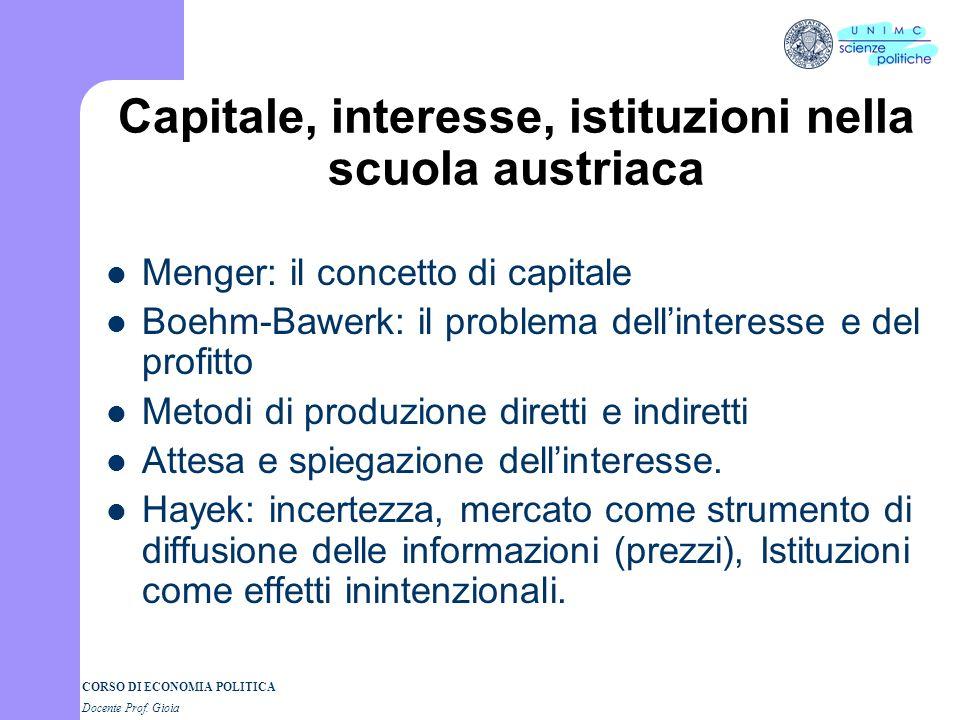 Capitale, interesse, istituzioni nella scuola austriaca