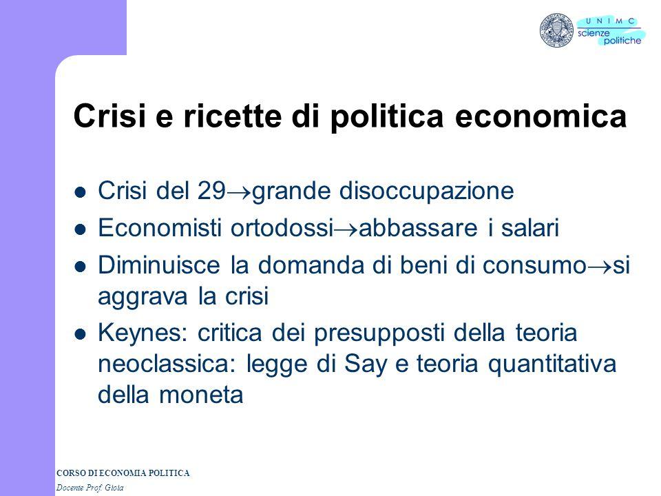 Crisi e ricette di politica economica