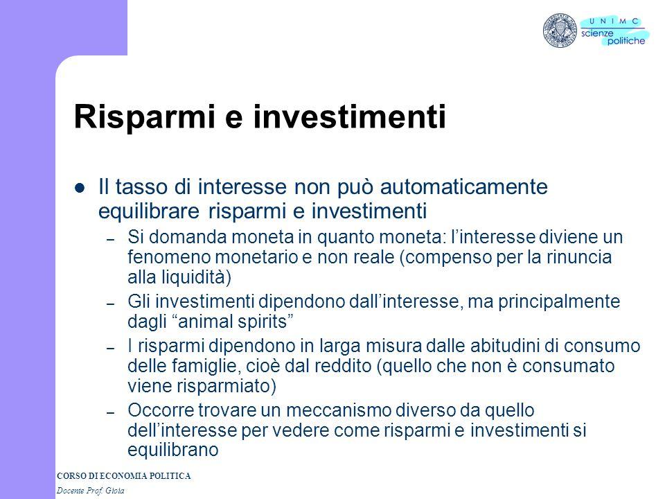 Risparmi e investimenti