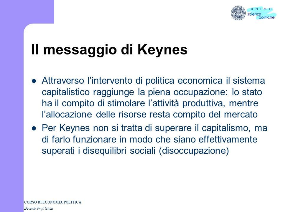 Il messaggio di Keynes