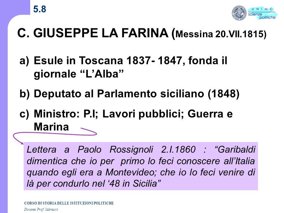 C. GIUSEPPE LA FARINA (Messina 20.VII.1815)