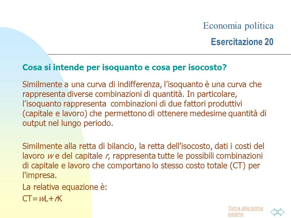 Economia politica Esercitazione 20