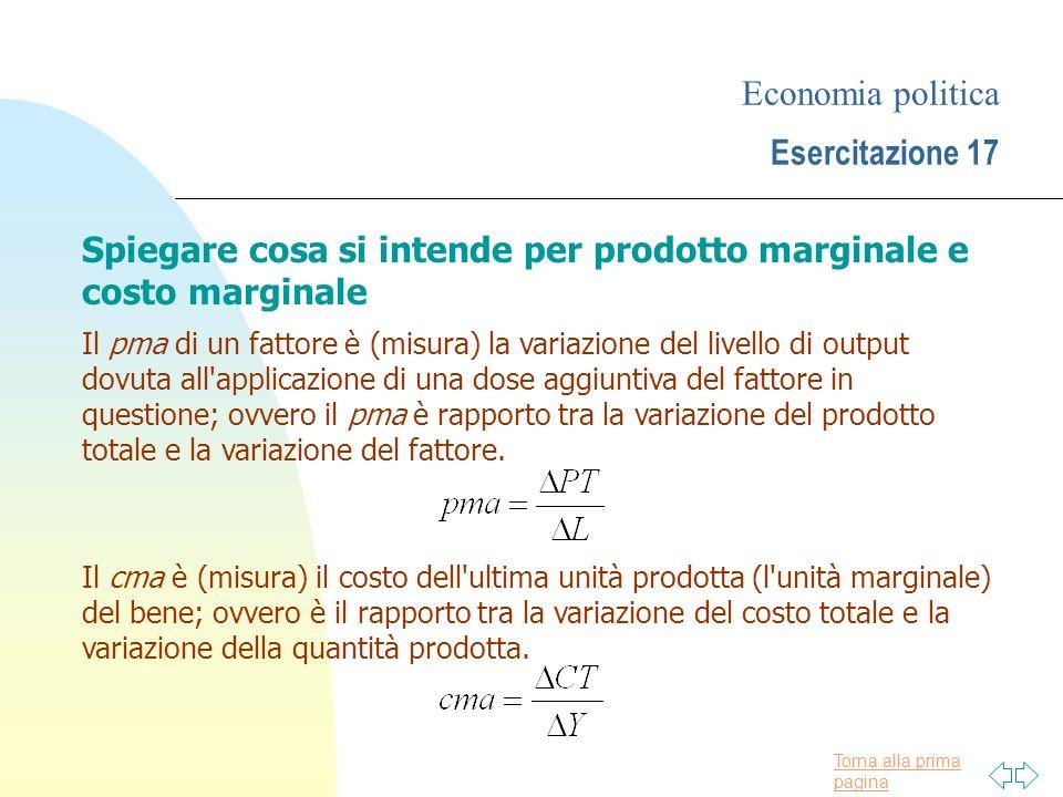 Economia politica Esercitazione 17