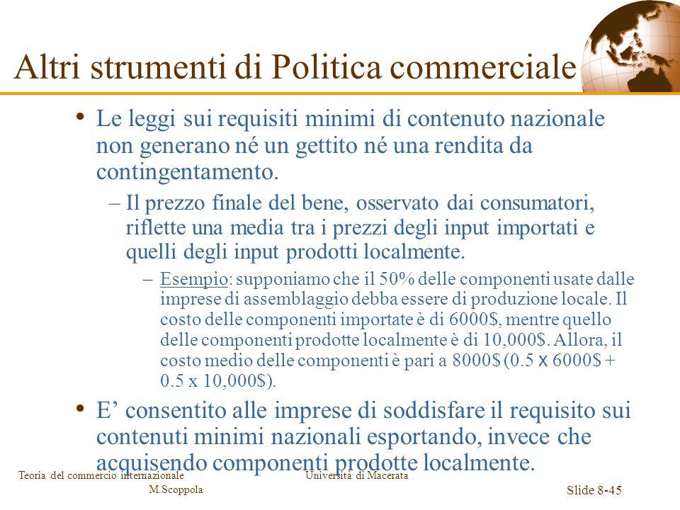 Altri strumenti di Politica commerciale