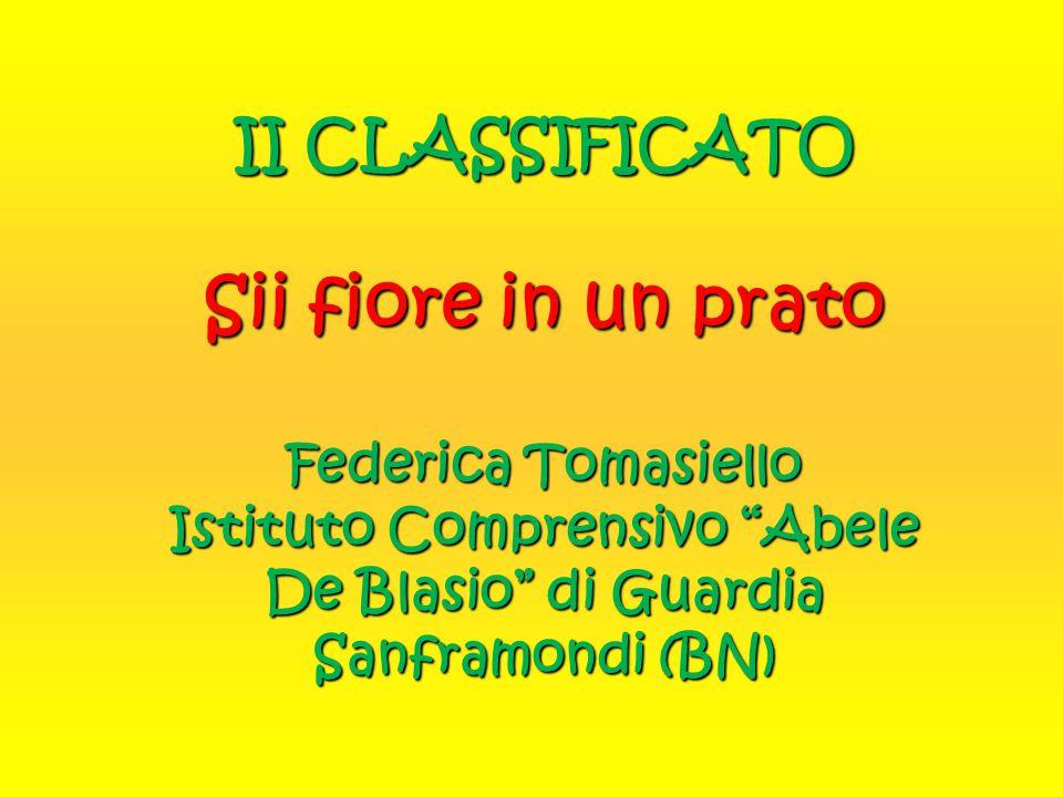 II CLASSIFICATO Sii fiore in un prato Federica Tomasiello Istituto Comprensivo Abele De Blasio di Guardia Sanframondi (BN)