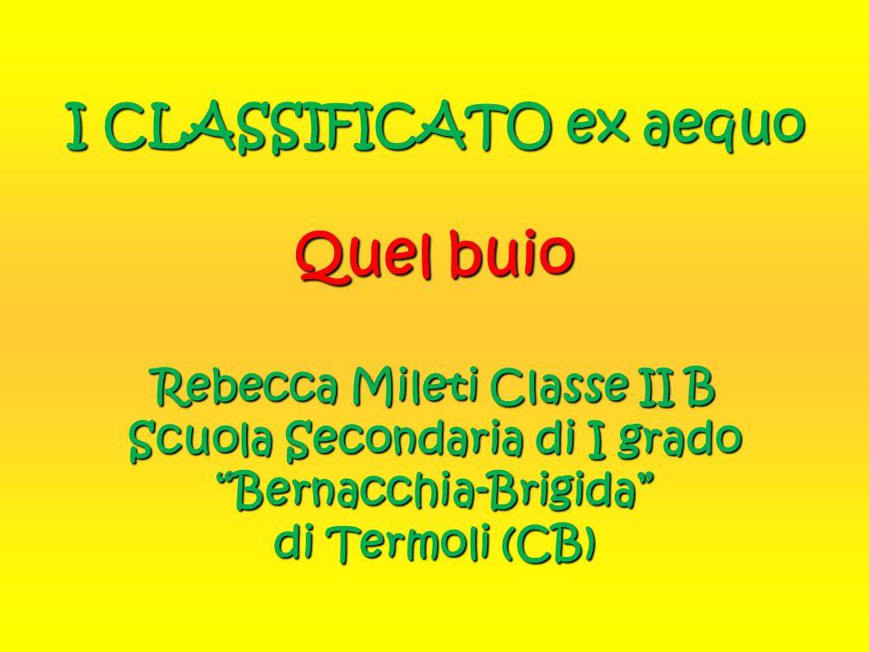 I CLASSIFICATO ex aequo Quel buio Rebecca Mileti Classe II B Scuola Secondaria di I grado Bernacchia-Brigida di Termoli (CB)