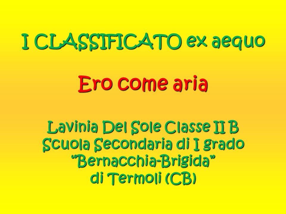 I CLASSIFICATO ex aequo Ero come aria Lavinia Del Sole Classe II B Scuola Secondaria di I grado Bernacchia-Brigida di Termoli (CB)