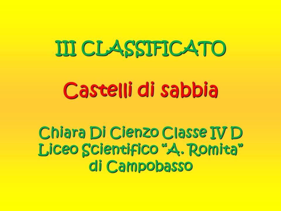 III CLASSIFICATO Castelli di sabbia Chiara Di Cienzo Classe IV D Liceo Scientifico A.