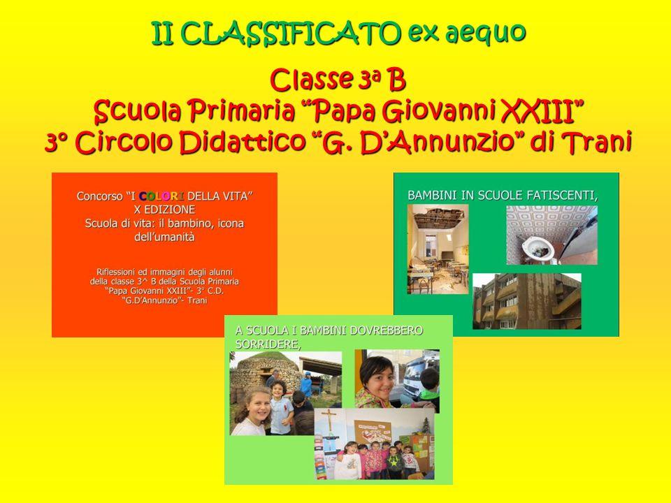 II CLASSIFICATO ex aequo Classe 3a B Scuola Primaria Papa Giovanni XXIII 3° Circolo Didattico G.