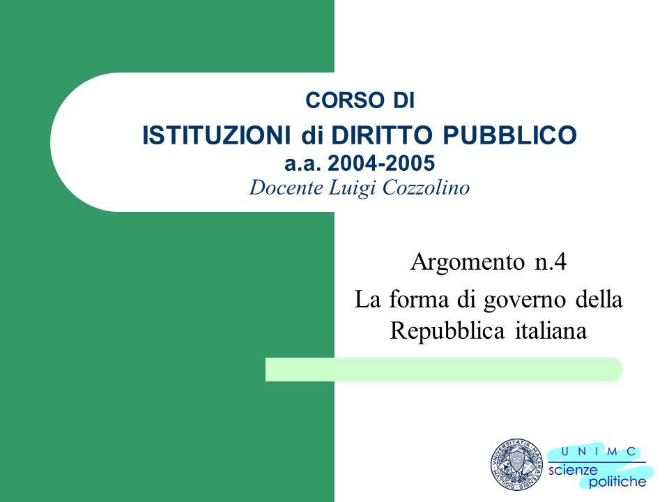 Argomento n.4 La forma di governo della Repubblica italiana