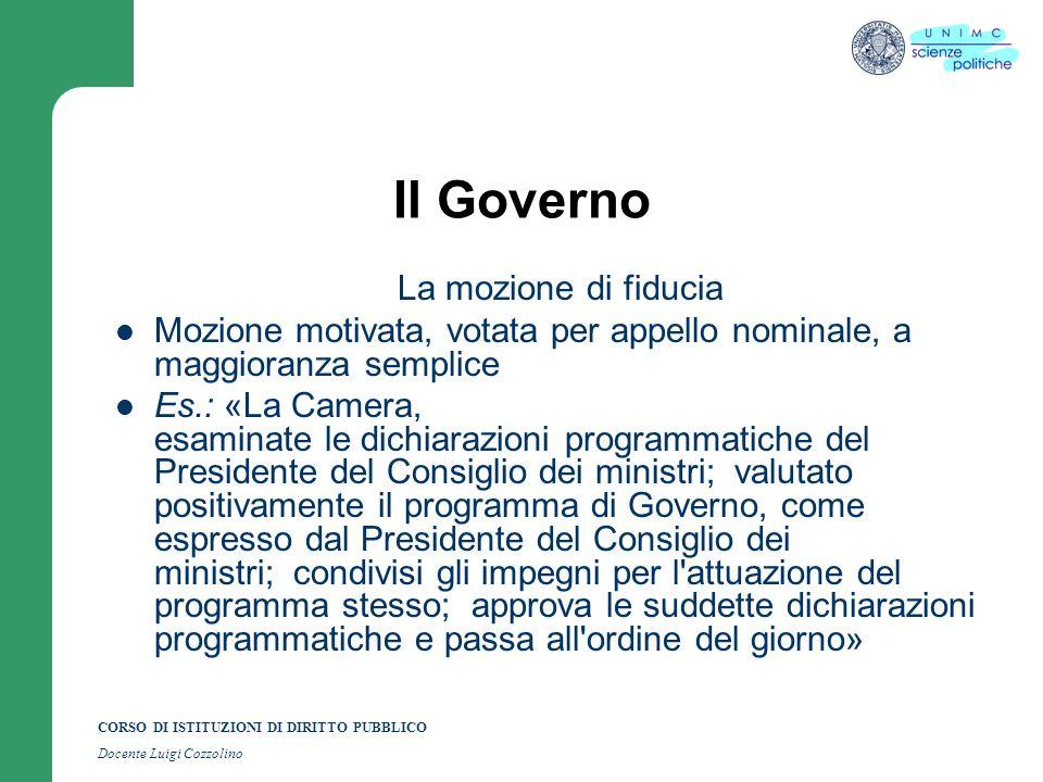 Il Governo La mozione di fiducia