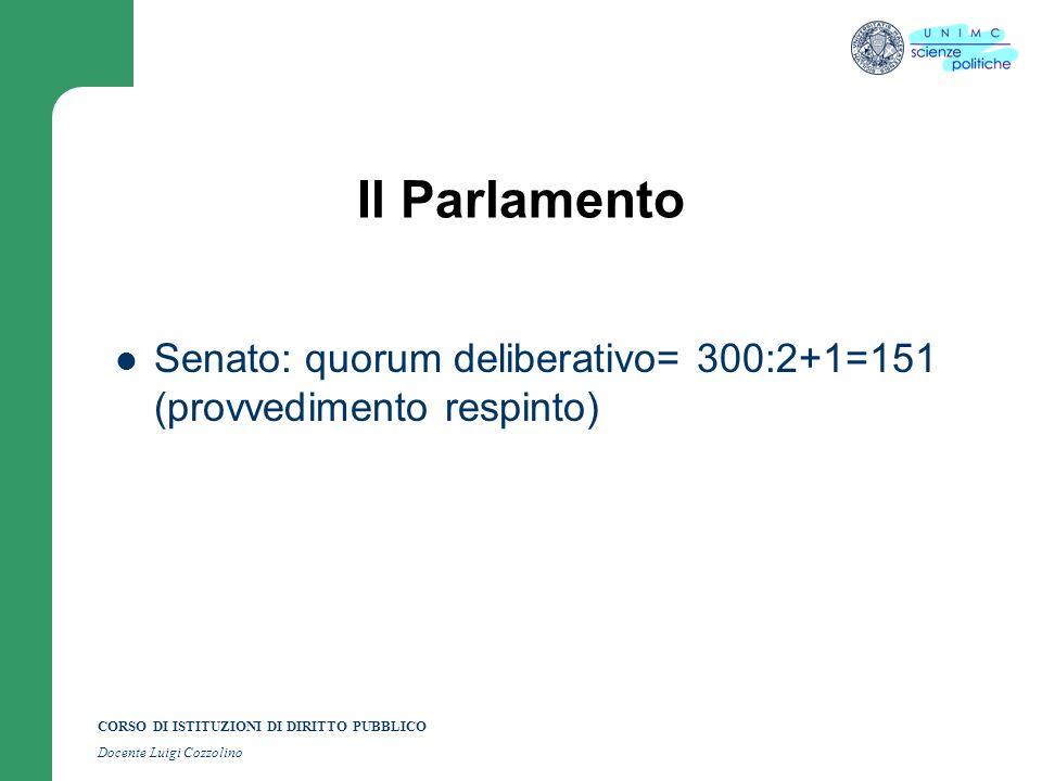 Il Parlamento Senato: quorum deliberativo= 300:2+1=151 (provvedimento respinto)