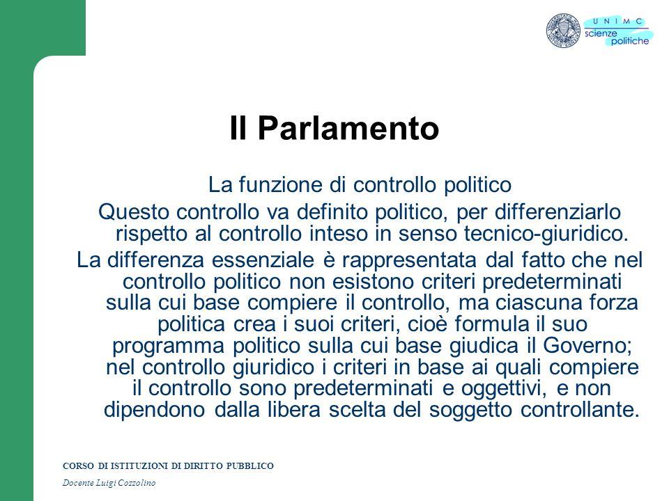 La funzione di controllo politico