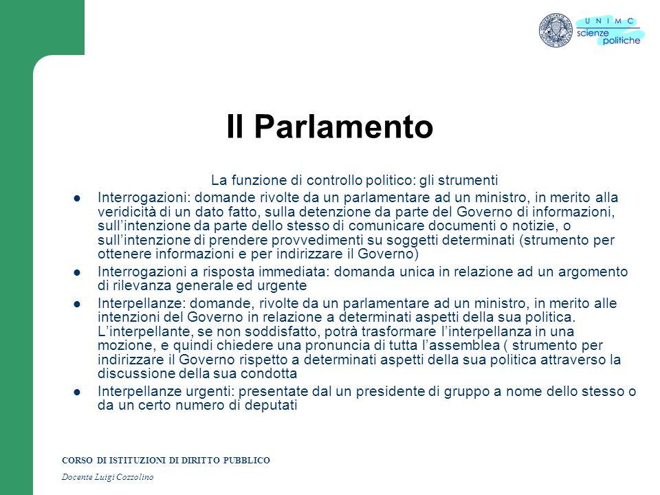La funzione di controllo politico: gli strumenti